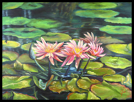 Three Pink Lilies by Jami Childers