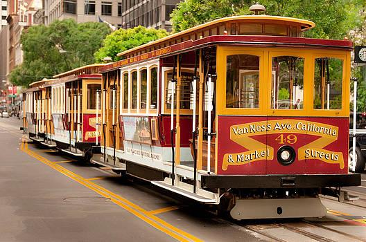 Three San Francisco Cable Cars at Powell Street Terminal by Lucas Tatagiba