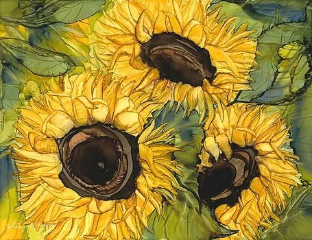 Three Sunflowers by Lisa  Marsing
