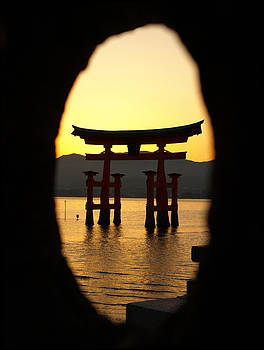 Torii Gate at Sunset by Kathy Dunce