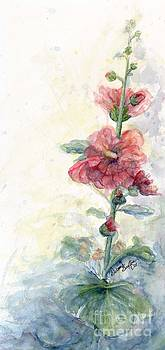 Touch of Summer Hollyhocks watercolor by CheyAnne Sexton