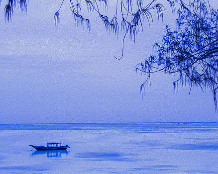 Tranquility in Blue - Textured by Diane Geddes