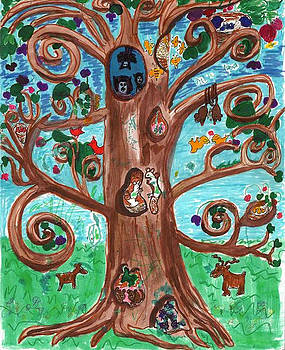 Tree with Animals by Jennifer Woodworth