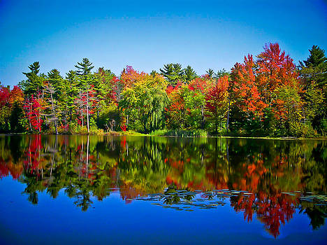 Chantal PhotoPix - Trees in Peak Fall Colors Reflected on a Blue Lake