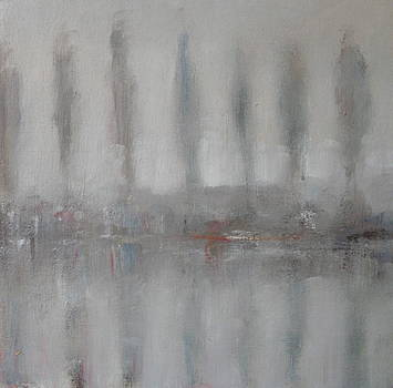 Trees in the Mist by the River Yar by Alan Daysh