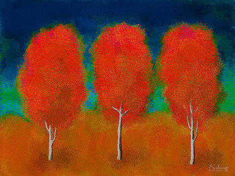 Trees in Triplicate Autumn by Robin Lewis