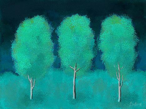 Trees in Triplicate Moonlit Winter by Robin Lewis