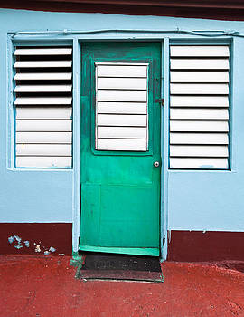 Tropical green door with louvers in the Caribbean by Anya Brewley schultheiss
