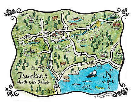 Truckee and North Lake Tahoe Map by Sara Zimmerman