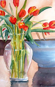 Tulips In Glass Vase by Linda L Stinson