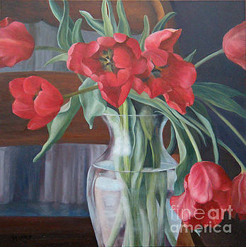 Tulips in the Library by Rita-Anne Piquet