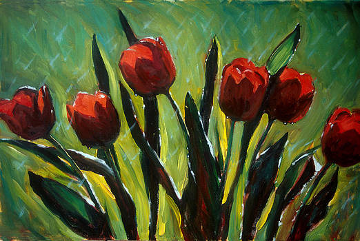 Tulips in the Rain by Donna Bingaman