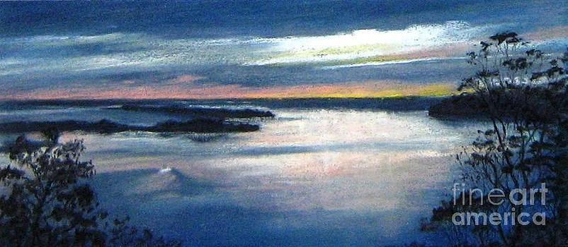 Twighlight waters-dusk over Lakes Entrance by Nadine Kelly