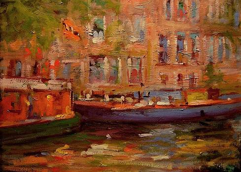 Two boats in Amsterdam by R W Goetting