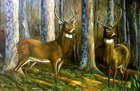 Two Bucks by Charles Sims