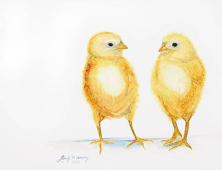 Two Chicks by Lisa  Marsing