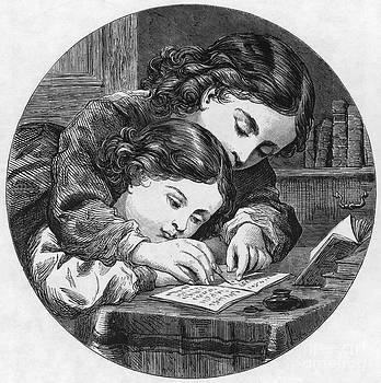 Photo Researchers - Two Children Writing