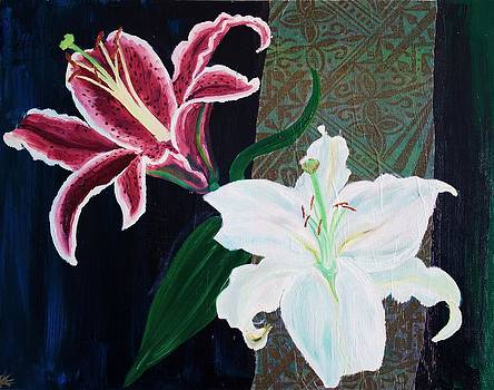 Two Lilies on Black by Samar Asamoah
