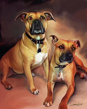 Michael Spano - Two Pit Bull Terriers