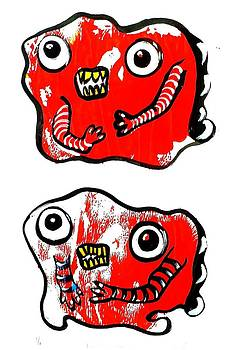 Two Red Boy Monsters by Nancy Mitchell