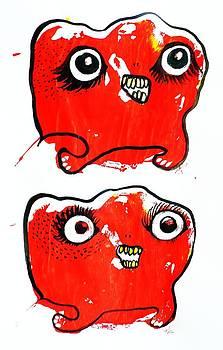 Two Red Girl Monsters by Nancy Mitchell