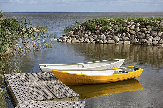 Two Small Rowing Boats Moored by Jaak Nilson