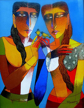 Two womans with love birds by Dayanand Kamakar