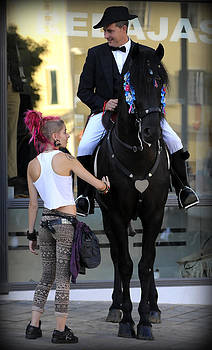 Pedro Cardona Llambias - two world - A traditional Menorcan rider with a pink hair girl