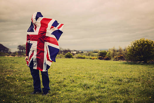 Union Jack on a hill by Sally Anscombe