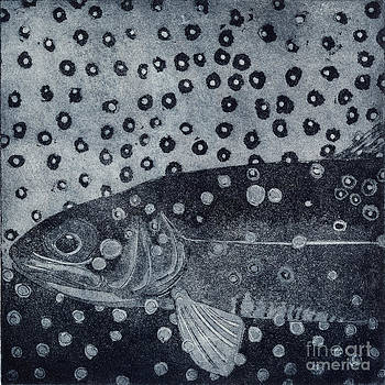 Unique etching artwork - Brown trout  - trout waters - trout brook - engraving by Urft Valley Art