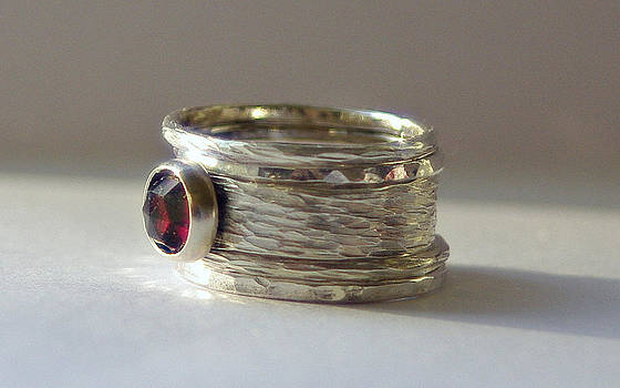 Unique Rustic Earthy Stacking Renaissance Wedding  Engagement Rings Sterling Silver and Garnet  by Nadina Giurgiu