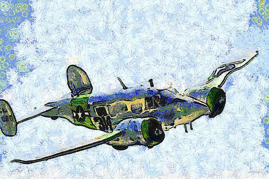 Wingsdomain Art and Photography - Van Gogh Flies A Twin Beech C-45 Expeditor . 7D15392