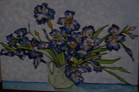 Van Gogh' Irises in a jug by Iris Devadason