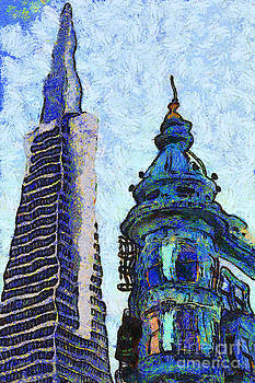 Wingsdomain Art and Photography - Van Gogh Is Mesmerized By The Transamerica Pyramid and The Columbus Tower 7d7433