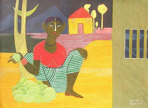 Veg Selling Girl-i by Tapan Kar