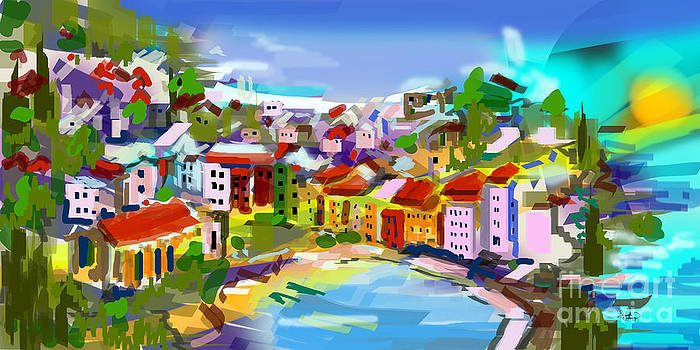 Ginette Callaway - Vernazza Italy Cinque Terre Digital Painting