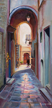 View Down a Street in Cortona by Jane Woodward