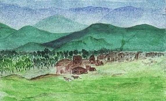 Village At Hill - Foot by Nasir Iqbal Chaidhri
