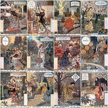 Vintage Art Nouveau French Calendar Art by Don Struke