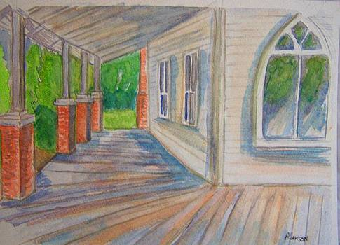 Vintage Porch with Gothic Window by Belinda Lawson