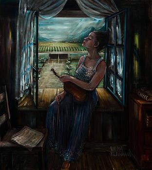 Violin and winelands by Wilma Kleinhans