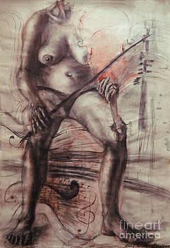 Violin nude by Mada Lina