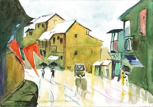 Walking down the street on a rainy day by Vijayendra Bapte