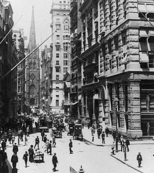 Wall Street looking toward Old Trinity Church - New York City - c 1910 by International  Images