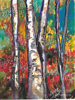 Watercolor Birch Trees by Michele Hollister - for Nancy Asbell