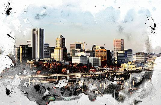 Watercolor of Downtown Portland by Cathie Tyler