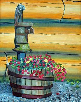 Waterpump and Petunias by Amy Reisland-Speer