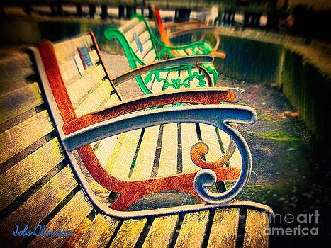 Weathered Seaside Benches by John Clawson