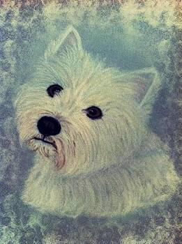Westie Nostalgia Pastel Portrait by Hillary Rose