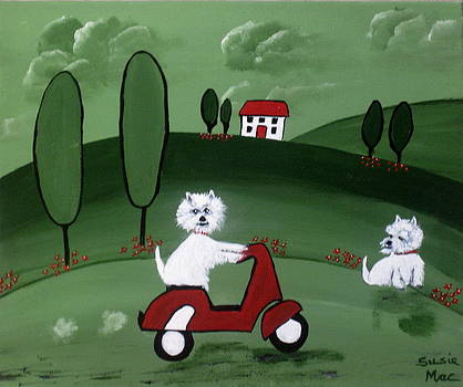 Westies with the Scottie Scooter by Susan McLean Gray